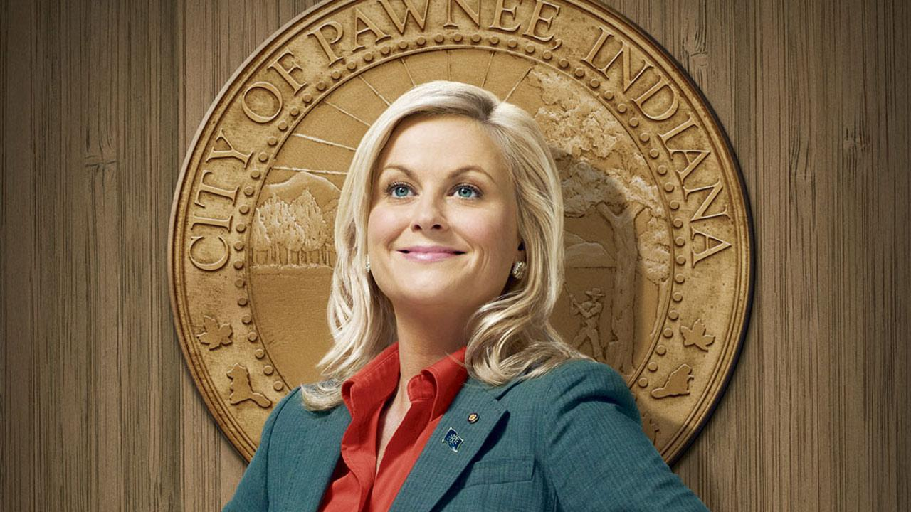 Amy Poehler appears in a promotional photo for the NBC series, Parks and Recreation.