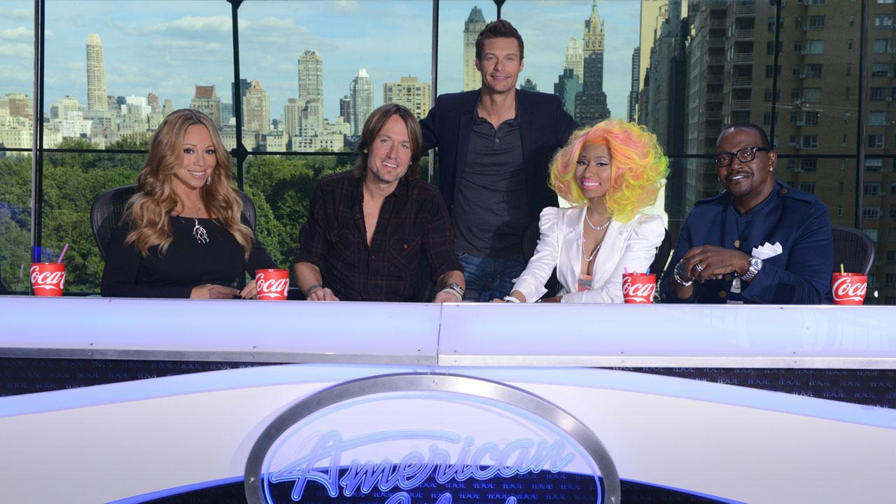 Nicki Minaj, Keith Urban, Mariah Carey and Randy Jackson appear in a 2012 promotional photos for American Idol on September 16, 2012.