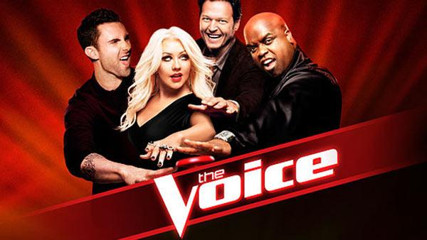 L to R: Adam Levine, Christina Aguilera, Blake Shelton and Cee Lo Green appear in an undated publicity photo for NBCs The Voice. - Provided courtesy of NBC