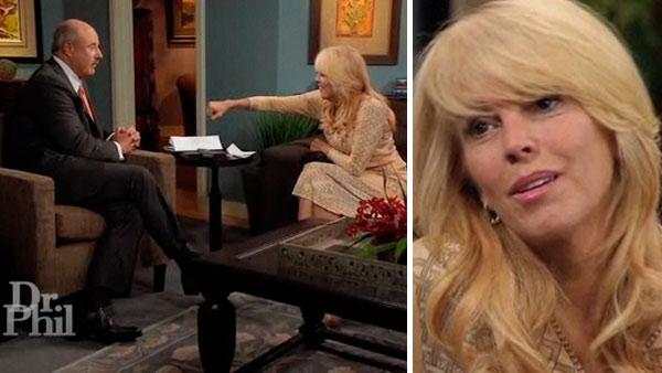 Dina Lohan and Dr. Phil McGraw appear in scenes from Dr. Phil on Sept. 17, 2012. - Provided courtesy of King World Productions / Paramount Domestic Television
