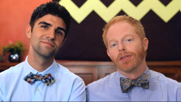 Jesse Tyler Ferguson and his fiance Justin Mikita appear in a still from their Tie the Knot foundation video. - Provided courtesy of TieTheKnot.Org / YouTube