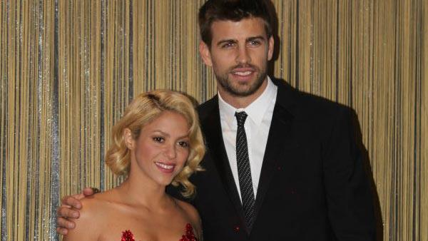 Shakira and Gerard Pique appear in a photo posted on the singer's official Facebook page on January 9, 2012.