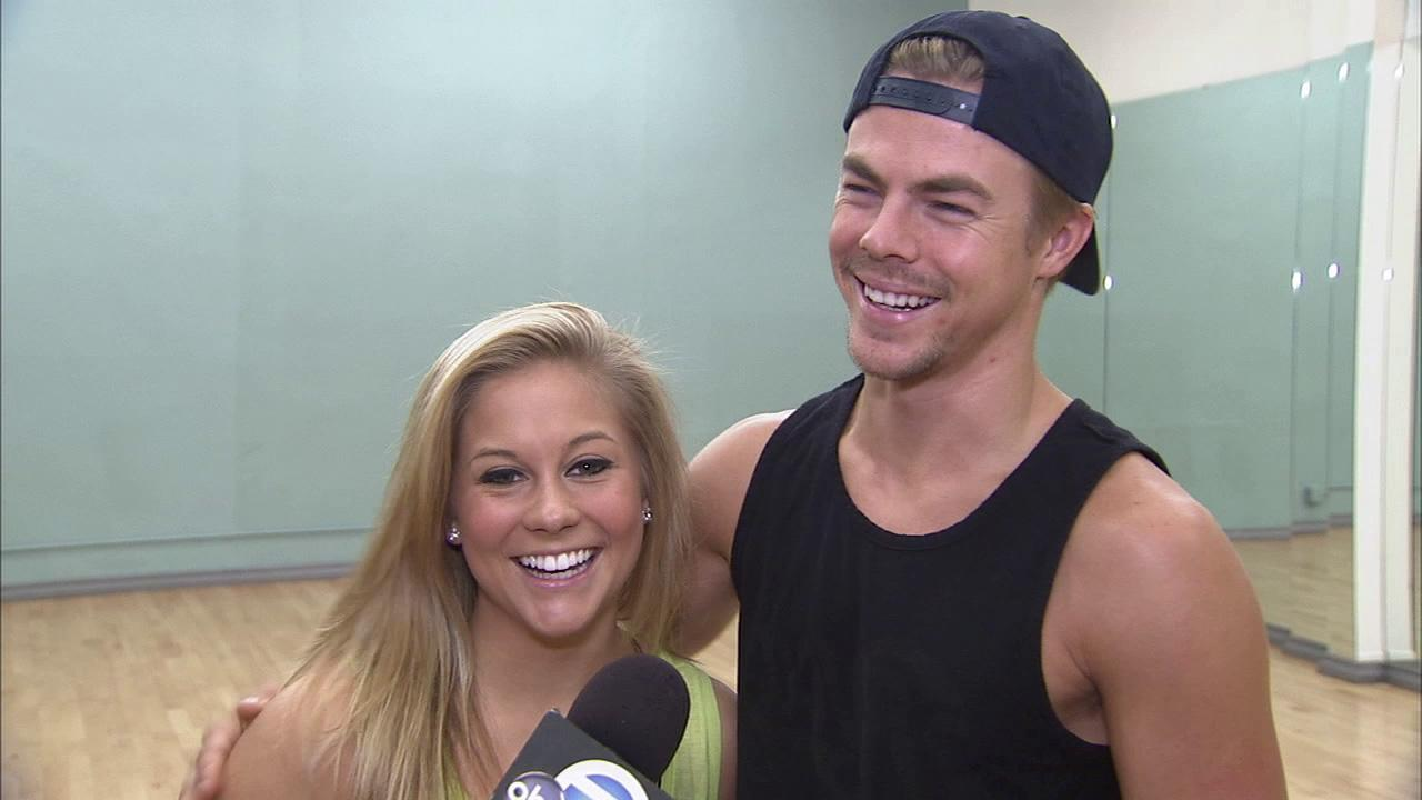 Derek Hough and Shawn Johnson talk about Dancing With The Stars: All-Stars at practice on September 19, 2012.