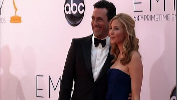 Jon Hamm and his life partner walk the Emmys carpet