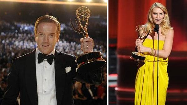 Damian Lewis holds up his Emmy for Outstanding Lead Drama Actor for his role in Homeland at the 2012 Emmy Awards on Sept. 23, 2012. / Claire Danes holds up her Emmy for Outstanding Lead Drama Actress for her role in Homeland at the 2012 Emmy Awards. - Provided courtesy of ABC / Matt Brown