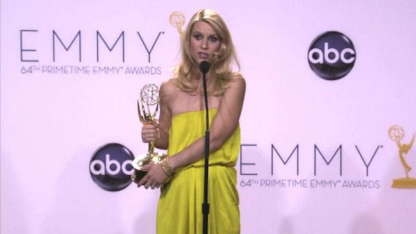 Claire Danes speaks after the 2012 Emmy Awards