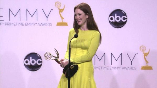 Julianne Moore speaks after the 2012 Emmy Awards