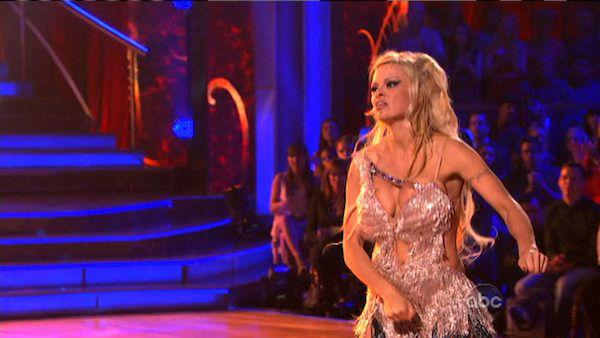 Pamela Anderson and Tristan MacManus appear in a still from 'Dancing With The Stars: All-Stars' on September 24, 2012.