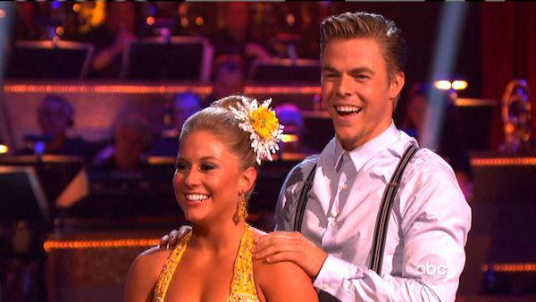 Shawn Johnson and Derek Hough appear in a still from 'Dancing With The Stars: All-Stars' on September 24, 2012.