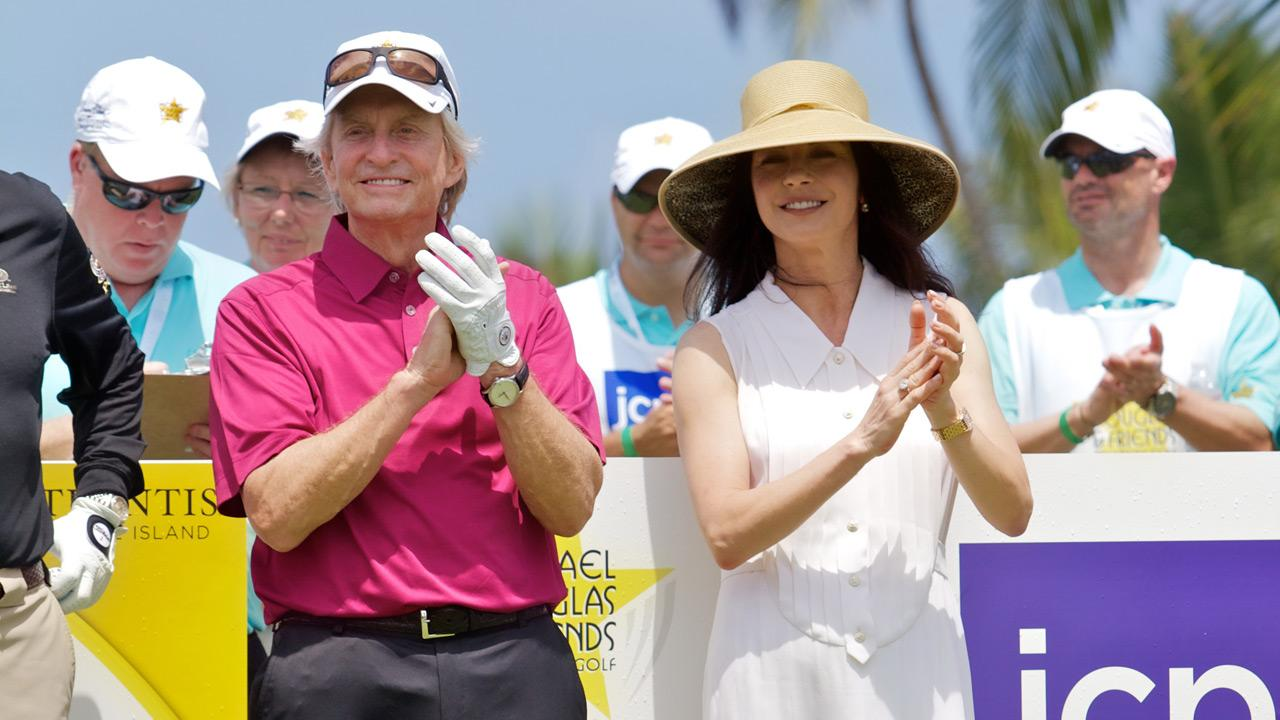 Michael Douglas and Catherine Zeta-Jones appear at the 2012 Michael Douglas &amp; Friends Celebrity Golf Tournament, which took place between May 25 and May 27, 2012. The event is set to air on the Golf Channel on July 7, 2012. <span class=meta>(Michael Douglas and Friends Golf Tournament)</span>