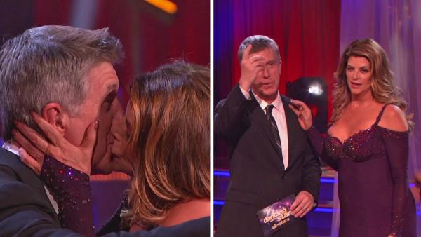 Kirstie Alley kisses Tom Bergeron on the premiere of Dancing With The Stars: All-Stars on Sept. 24, 2012. She said it was to celebrate his Emmy win from the night before. - Provided courtesy of ABC