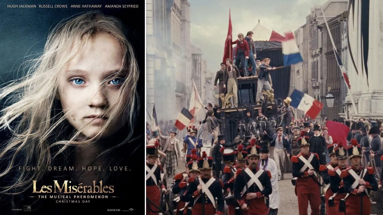 Isabelle Allen appears as young Cosette on the official poster for the 2012 film Les Miserables. / The students appear on the barricade in a scene from the 2012 movie Les Miserables.