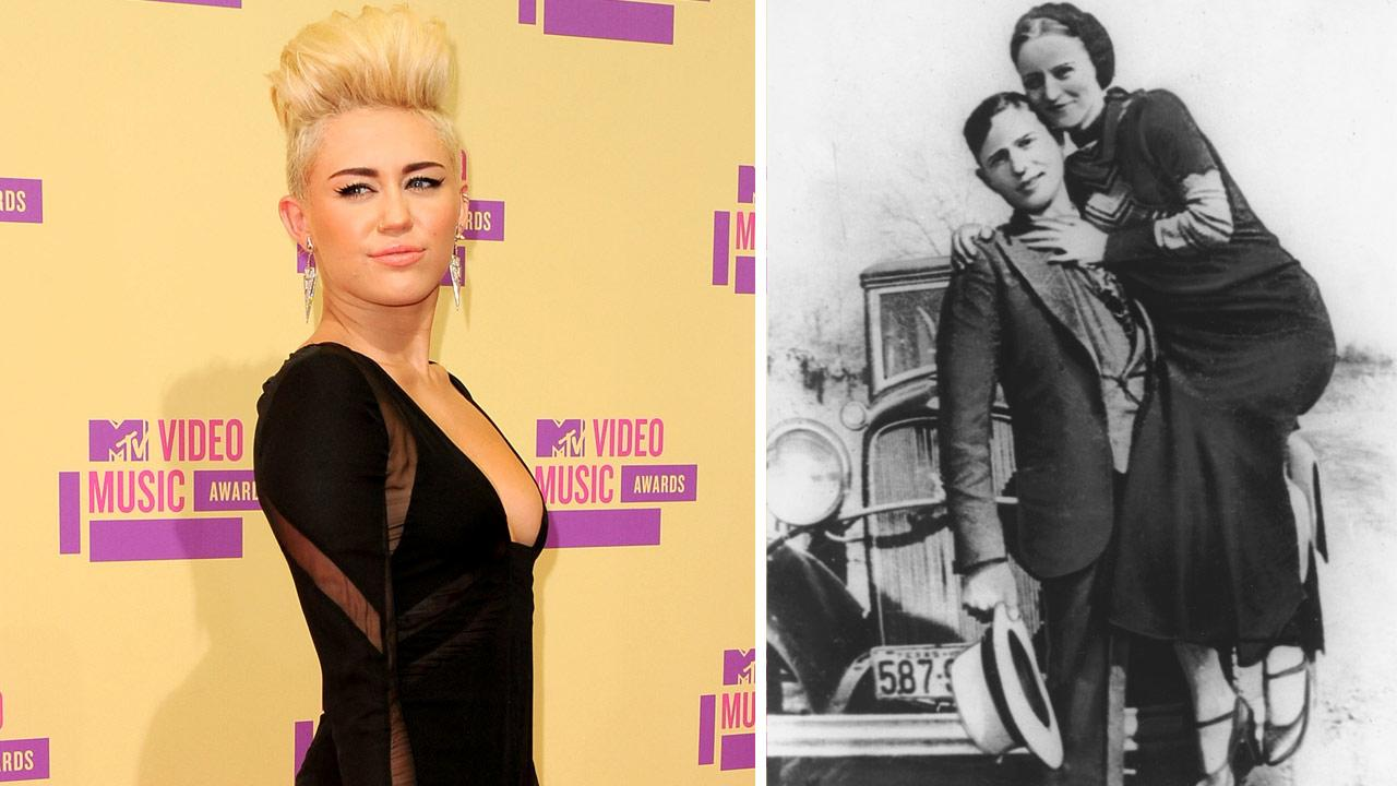 Miley Cyrus appears at the MTV Video Music Awards on Thursday, Sept. 6, 2012. / This is an undated photo of bandits Bonnie Parker and Clyde Barrow.
