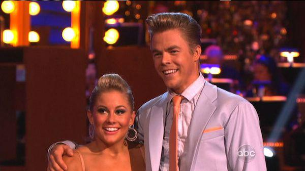 Shawn Johnson and Derek Hough appear in a still from 'Dancing With The Stars: All-Stars' on October 1, 2012.