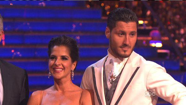 Kelly Monaco and Valentin Chmerkovskiy appear in a still from 'Dancing With The Stars: All-Stars' on October 1, 2012.