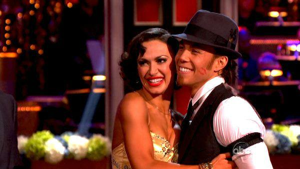 Apolo Anton Ohno and Karina Smirnoff appear in a still from 'Dancing With The Stars: All-Stars' on October 1, 2012.
