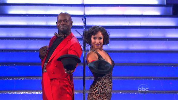 Emmitt Smith and Cheryl Burke appear in a still from 'Dancing With The Stars: All-Stars' on October 1, 2012.