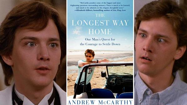 Andrew McCarthy appears in the ending scene (left) and a middle scene (right) from the 1986 movie Pretty in Pink. / Andrew McCarthy appears on the cover of his 2012 book: The Longest Way Home: One Mans Quest For The Courage To Settle Down. (middle) - Provided courtesy of Paramount Pictures / Free Press