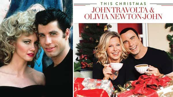 John Travolta and Olivia Newton-John appear in a promotional photo for Grease in 1978. / The actors on the cover of their holiday album This Christmas in 2012. - Provided courtesy of Paramount Pictures / UME Music