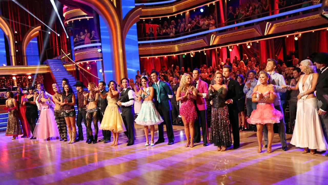 The cast appears in a still from week 2 of Dancing With The Stars: All-Stars, which aired on October 1, 2012.