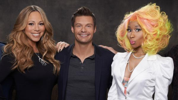 Nicki Minaj, Mariah Carey and Ryan Seacrest appear in a 2012 promotional photos for American Idol on September 16, 2012. - Provided courtesy of Michael Becker / FOX