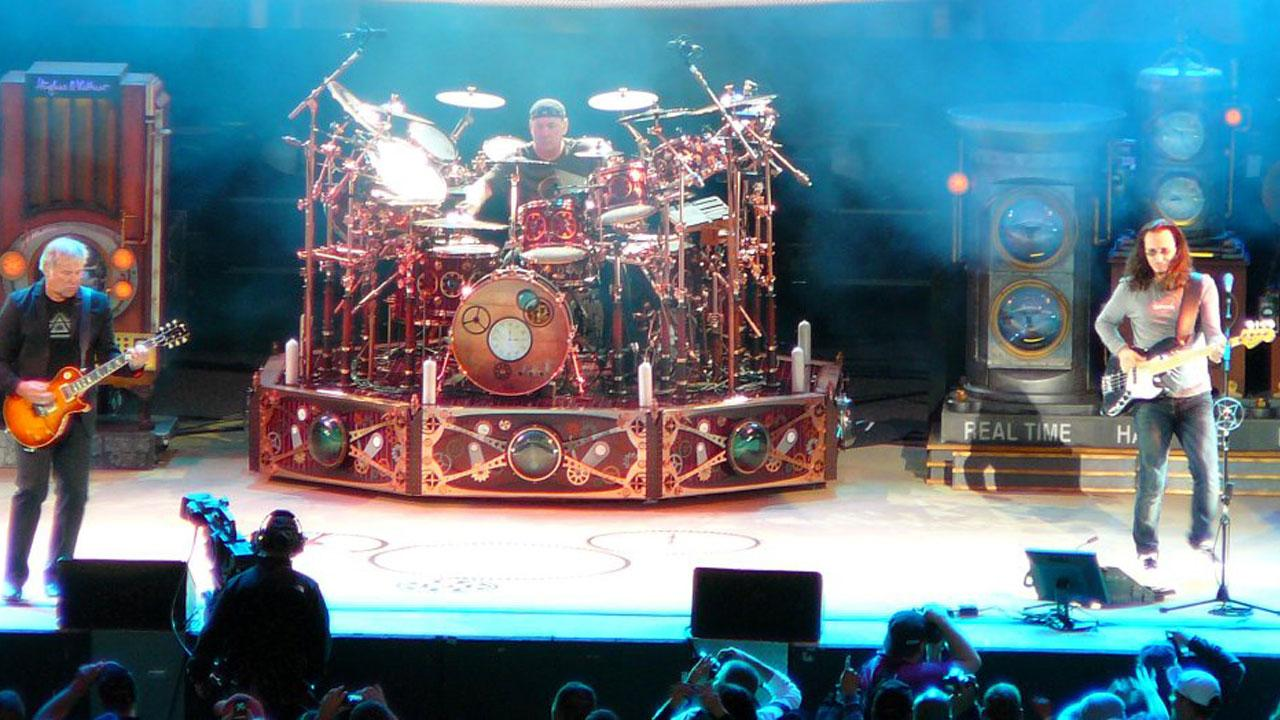 Rush performs at White River Amphitheatre in Seattle, Washington on August 7, 2010.