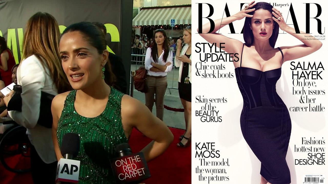 Salma Hayek talks to OnTheRedCarpet.com at the premiere of Oliver Stones film Savages in Los Angeles on June 25, 2012. / Salma Hayek appears on the November 2012 cover of Harpers Bazaar UK.