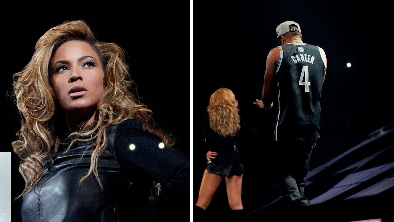 Beyonce on stage at the Barclays Center in Brooklyn, New York, on October 6, 2012.
