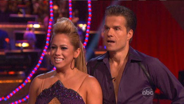Disney Channel actress Sabrina Bryan and her partner Louis Van Amstel received 25.5 out of 30 points from the judges for their Paso Doble on 'Dancing With The Stars: All-Stars,' which aired on October 8, 2012.