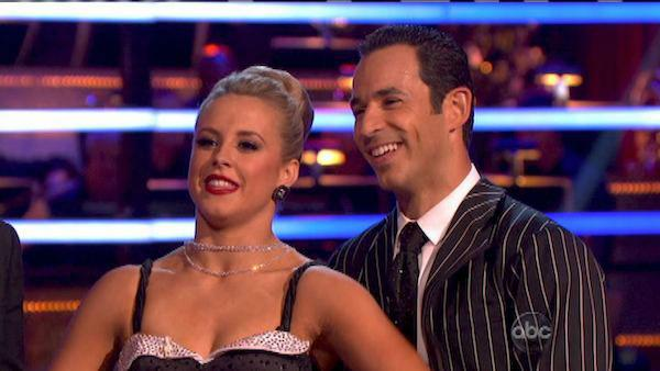 Brazilian auto racing driver Helio Castroneves and his partner Chelsie Hightower received 25.5 out of 30 points from the judges for their Quickstep on 'Dancing With The Stars: All-Stars,' which aired on October 8, 2012.
