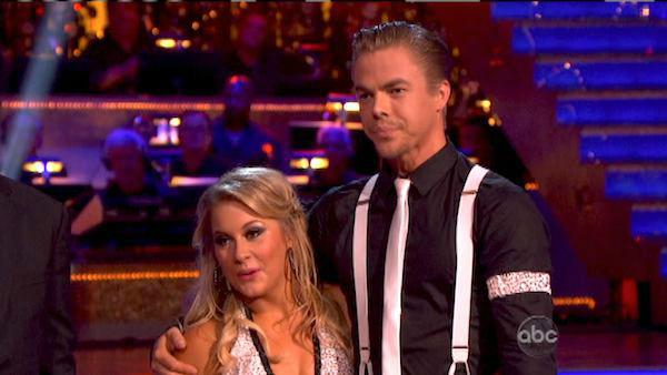 Olympic gymnast Shawn Johnson and her partner Derek Hough received 26.5 out of 30 points from the judges for their Quickstep on 'Dancing With The Stars: All-Stars,' which aired on October 8, 2012.
