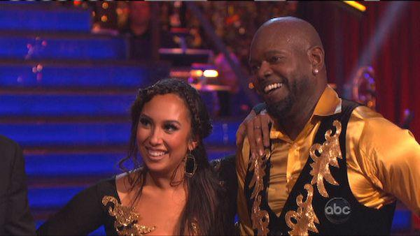 Retired NFL star Emmitt Smith and his partner Cheryl Burke received 25 out of 30 points from the judges for their Paso Doble on 'Dancing With The Stars: All-Stars,' which aired on October 8, 2012.