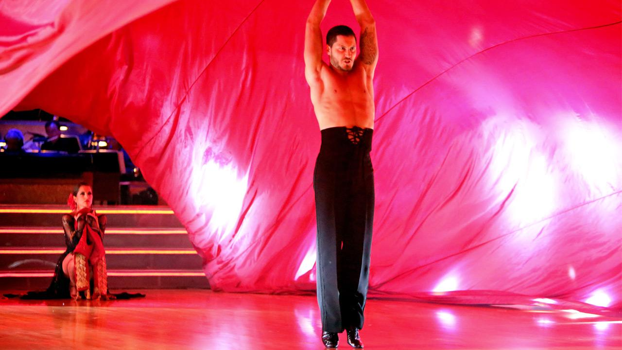 General Hospital actress Kelly Monaco and her partner Valentin Chmerkovskiy received 27 out of 30 points from the judges for their Paso Doble on Dancing With The Stars: All-Stars on Monday, Oct. 8, 2012. <span class=meta>(Adam Taylor)</span>