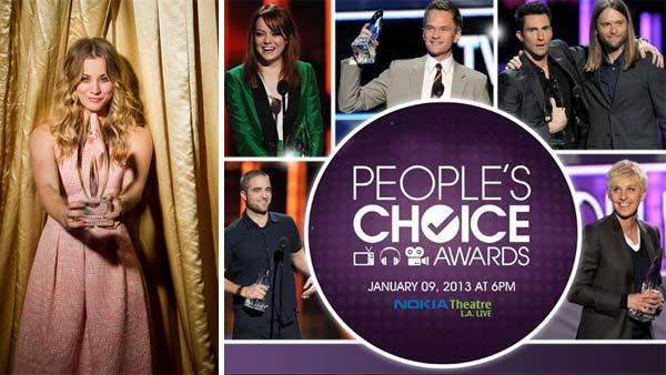 Kaley Cuoco poses in a publicity photo for the 2013 Peoples Choice Awards. / Robert Pattinson, Emma Stone, Neil Patrick Harris, Adam Levine and James Valentine and Ellen DeGeneres hold Peoples Choice Awards in this publicity photo for the 2013 ceremony. - Provided courtesy of facebook.com/peopleschoice