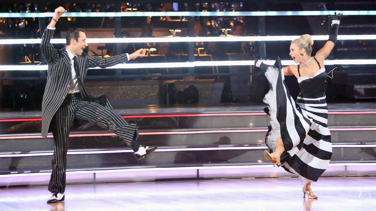 Brazilian auto racing driver Helio Castroneves and his partner Chelsie Hightower received 25.5 out of 30 points from the judges for their Quickstep on Dancing With The Stars: All-Stars on Monday, Oct. 8, 2012. <span class=meta>(Adam Taylor)</span>