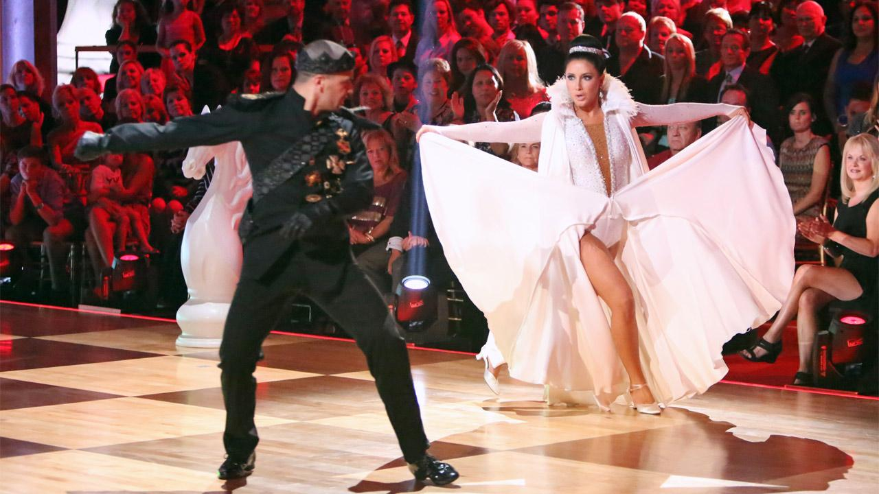 Reality TV star Bristol Palin and her partner Mark Ballas received 22.5 out of 30 points from the judges for their Paso Doble on Dancing With The Stars: All-Stars on Monday, Oct. 8, 2012. <span class=meta>(Adam Taylor)</span>