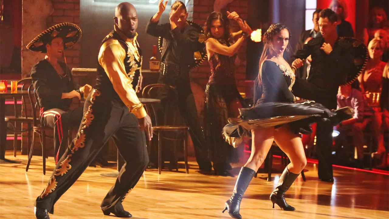 Retired NFL star Emmitt Smith and his partner Cheryl Burke received 25 out of 30 points from the judges for their Paso Doble on Dancing With The Stars: All-Stars on Monday, Oct. 8, 2012. <span class=meta>(Adam Taylor)</span>
