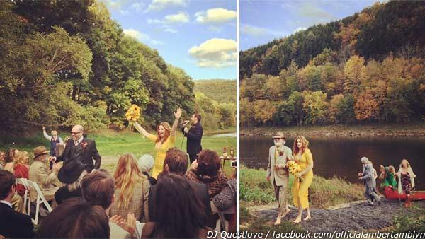 Amber Tamblyn and David Cross appear in a photo from their wedding on Oct. 7, 2012, as seen in this photo guest DJ Questlove posted on his Twitter and Instagram pages. / Amber Tamblyn is escorted to her wedding ceremony. - Provided courtesy of twitter.com/questlove / instagram.com/p/QjKKHKwa2p/ instagram.com/p/QjJxRKwa2i/