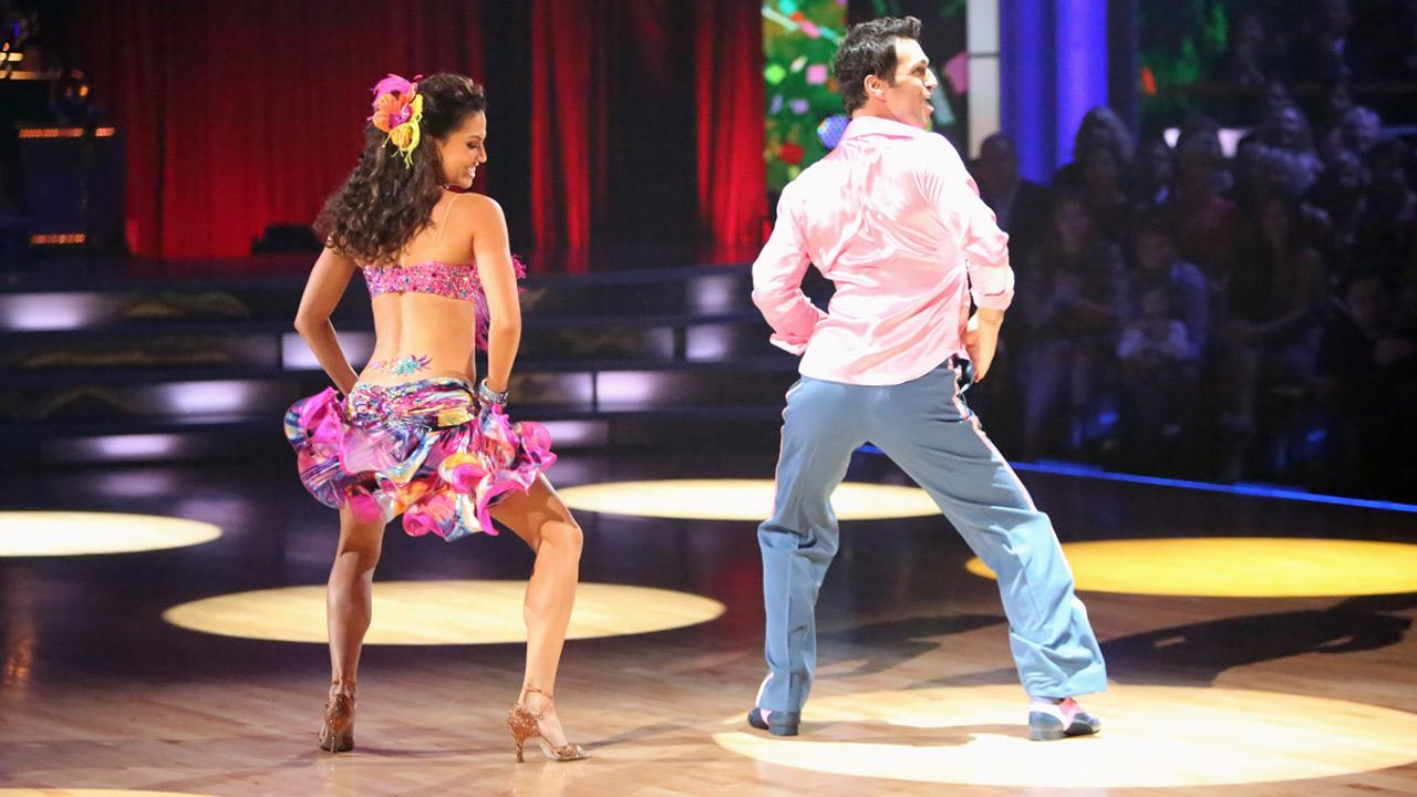 Reality star Melissa Rycroft and her partner Tony Dovolani received 27 out of 30 points from the judges for their Samba on Dancing With The Stars: All-Stars on Monday, Oct. 8, 2012. <span class=meta>(Adam Taylor)</span>