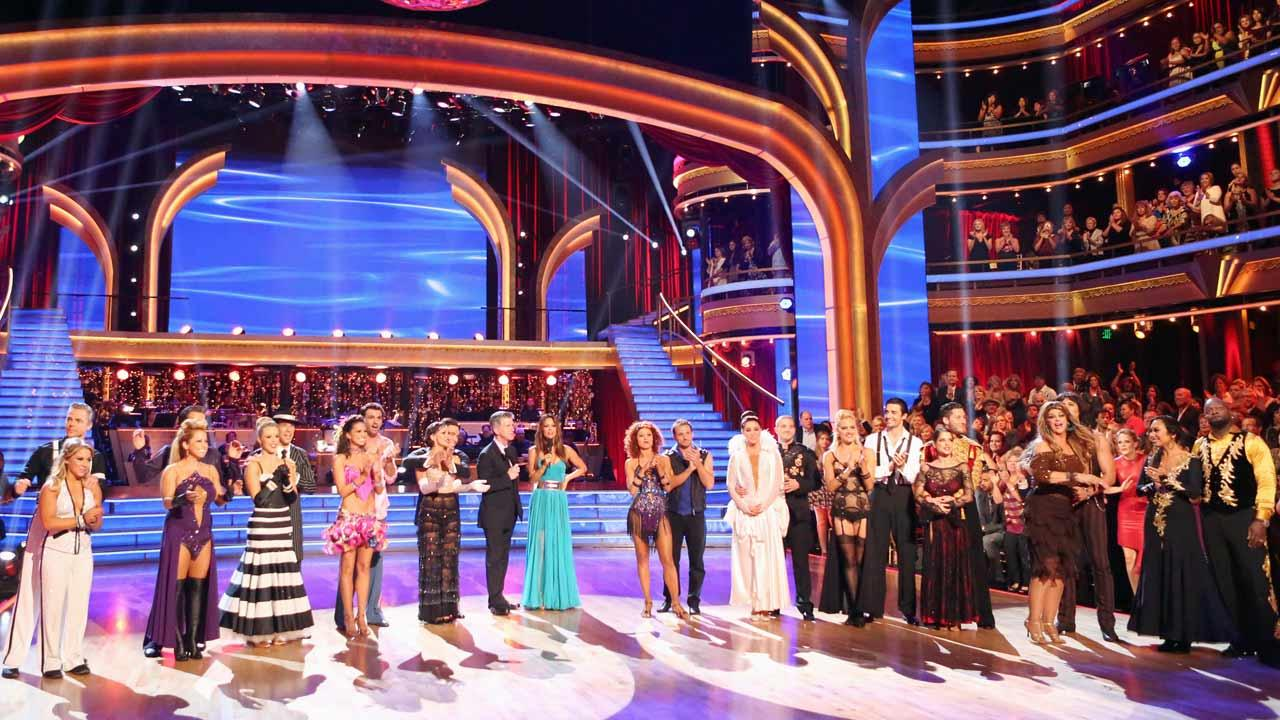 The cast appears in a still from week 3 of Dancing With The Stars: All-Stars, which aired on October 8, 2012.