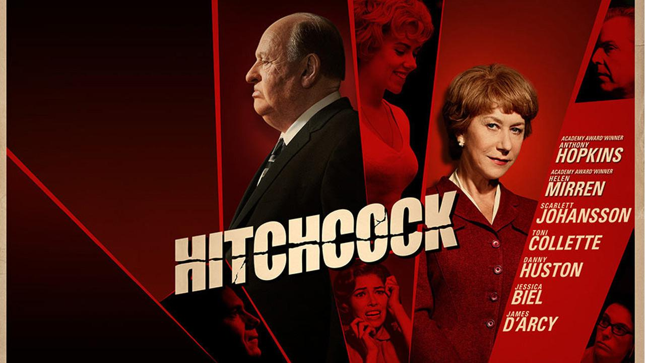 Anthony Hopkins, Helen Mirren and Scarlett Johansson appear in a poster for the 2012 film, Hitchcock.