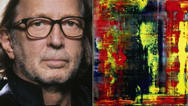 Eric Clapton in a 2010 promotional photo posted on his Facebook page. / Gerhard Richters Abstraktes Bild appears in a photo from Sothebys official website. - Provided courtesy of facebook.com/ericclapton / Sothebys