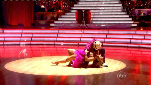 Shawn Johnson and Derek Hough appear in a still from 'Dancing With The Stars: All-Stars' on October 15, 2012.