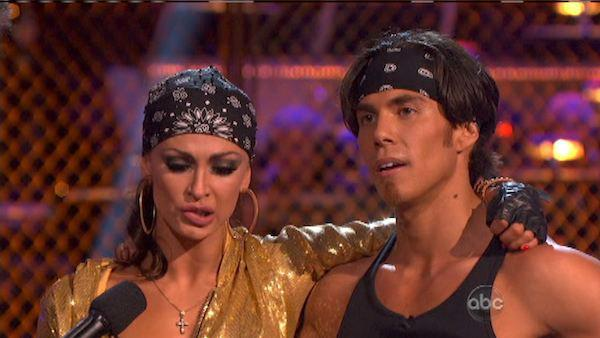 Apolo Anton Ohno and Karina Smirnoff appear in a still from 'Dancing With The Stars: All-Stars' on October 15, 2012.