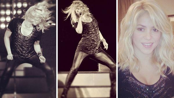Shakira and her baby bump appear on stage at her concert at Baku Crystal Hall in Azerbaijan on Oct. 14, 2012. - Provided courtesy of instagram.com/p/Qxvq2wojq6 / instagram.com/p/QxwOMzIjri / instagram.com/p/QxMJdrojk_ / twitter.com/shakira