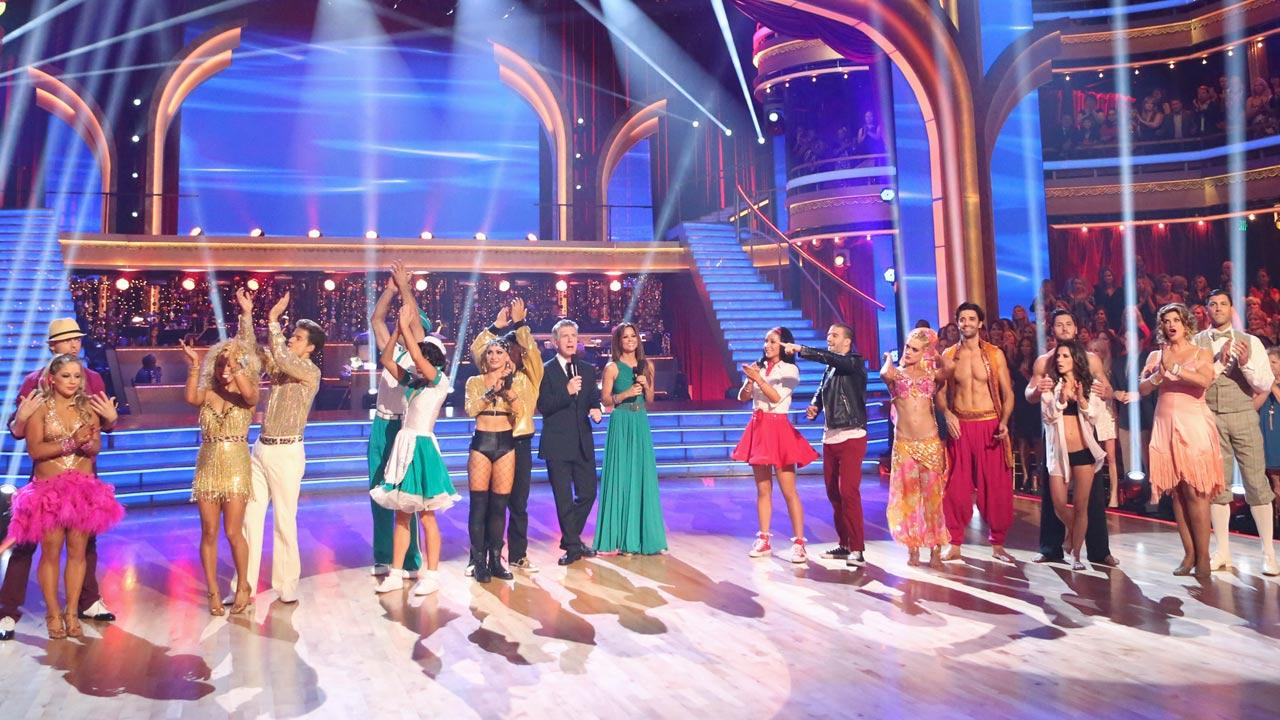 The cast appears in a still from week 4 of Dancing With The Stars: All-Stars, which aired on October15, 2012.
