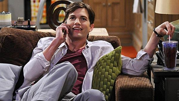 Ashton Kutcher appears as Walden in a scene from an episode of the CBS show Two and a Half Men that aired on March 19, 2012. - Provided courtesy of Darren Michaels / Warner Bros. Television / CBS