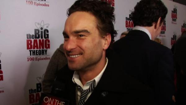 Johnny Galecki talks to OnTheRedCarpet.com on Dec. 15, 2011 at a Los Angeles party to celebrate the 100th episode of CBS series 'The Big Bang Theory.'