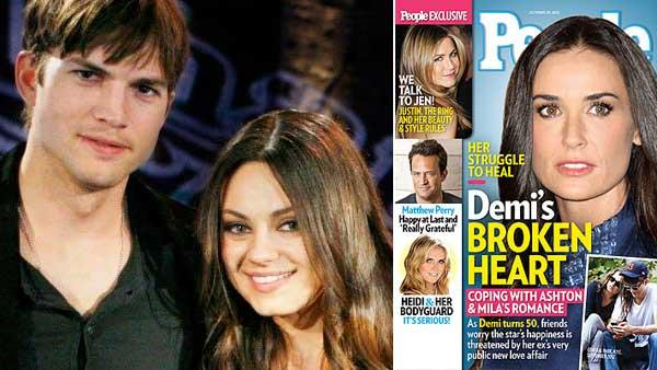 Demi Moore appears on a 2012 cover for People magazine. / Ashton Kutcher and Mila Kunis reunited for FOXs 25TH ANNIVERSARY SPECIAL which aired on April 22, 2012. - Provided courtesy of People / Beth Dubber/FOX
