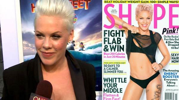 Pink talks to OnTheRedCarpet.com at the Hollywood premiere of Happy Feet Two. / Pink appears on the November 2012 cover of Shape magazine. - Provided courtesy of OTRC